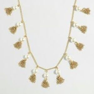 New  J.crew Pearl And Chain Tassel Necklace